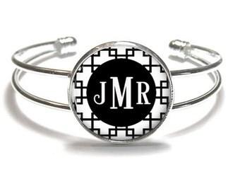 Black Reverse Square Monogram Bracelet, Monogram Bangle, Monogram Jewelry, Bridesmaid Gift, Personalized Bracelet - Style 480