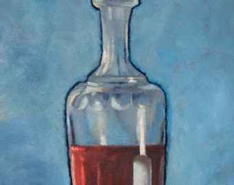 Still life oil painting, small painting, blue and red, vintage carafe, gift idea, home decor, original artwork