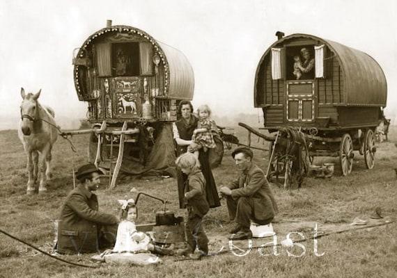 Gypsy Wagon Vintage Photo Digital Download Image