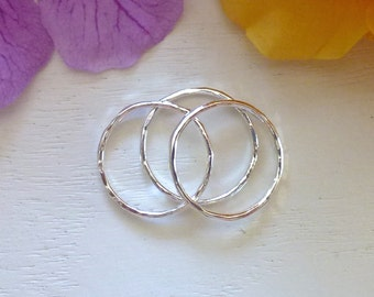 Three Silver Stacking Rings - Fine Silver Rings - Silver Rings - Stacking Rings - 14 Gauge Fine Silver Rings - Shiny Rings
