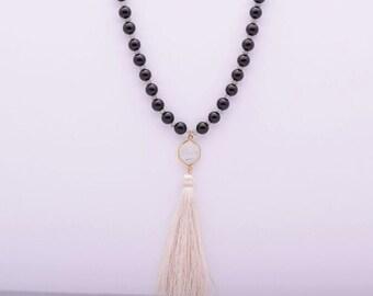 Onxy & Moonstone Tassel Necklace