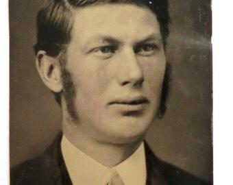 Tintype Photo Man Mutton Chops Side Burns