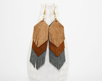 Leather Fringe Earrings - Suede Chevrons (Tan / Camel / Gray)