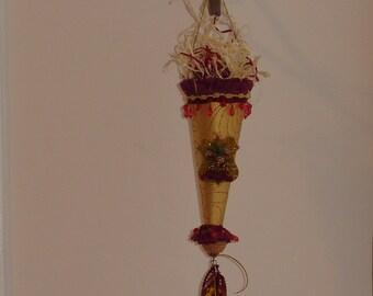 Elegant Christmas Tussie Mussie Cone Decoration Handmade OOAK