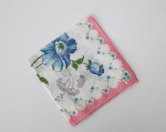 Blue Floral Handkerchief Hankie