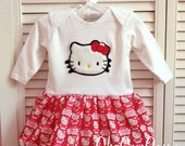 Ready to ship Fuzzy Hello kitty embroidered dress 6-12 month ready to ship clearance price