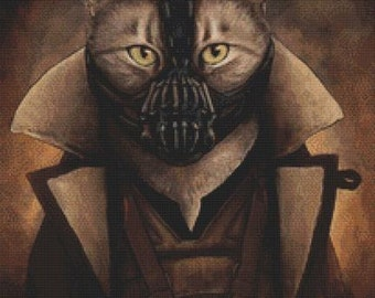 Modern Cross Stitch Kit  Batman Cat - 'Bane Kitty' By Jenny Parks - Needlecraft Kit -Dark Knight