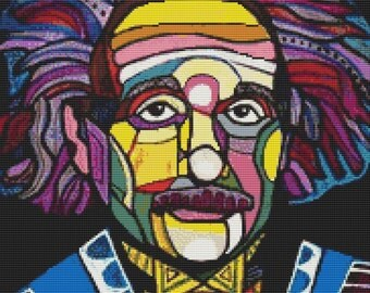 Modern Cross Stitch Kit Albert Einstein By Heather Galler - Scientist
