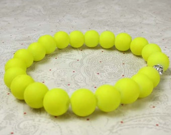 Neon yellow rubber beaded bracelet on stretch cord, stretchy bracelet, yellow bracelet, neon yellow