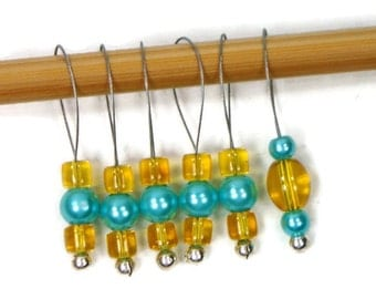 Stitch Markers Snagless Yellow Turquoise Knitting Tools Beaded