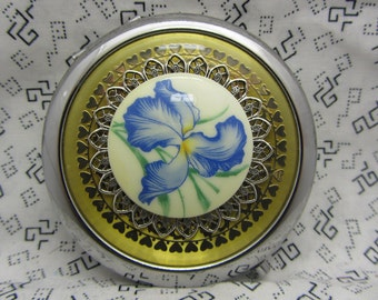 Bridesmaid Gift Compact Mirror Blue Iris Comes With Protective Pouch