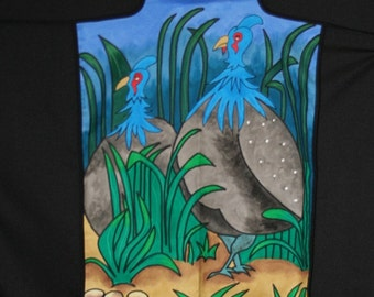 Apron Guinea Fowl Hand Painted Original Art South Africa
