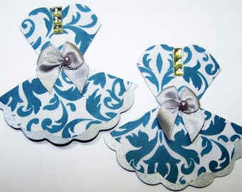 Die Cut, Dress, Fashion, Prom Dress, Party Dress, Mini, Teal, Card Toppers, Paper Embellishments, Card Making, Scrapbooking, Cards DIY
