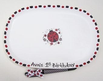 Ceramic Signature Plate - BIRTHDAY LADYBUG Guest Book Alternative