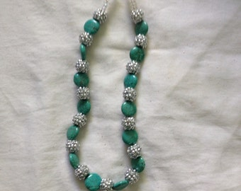 Chunky western cowgirl necklace in blue and silver