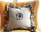 LIZZY...A Pillow Cover with Embroidered Initial