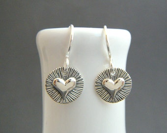 """small striped heart earrings. tiny sterling silver dangles. oxidized black. everyday jewelry. simple drops. gift for her women 3/8"""" heart"""