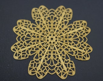 Supplies - Large Flower Victorian Filigree Stamping Wraps 62mm or 21/2 inches - 3 pcs