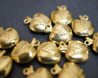 Raw Brass Mini Apple Charms - 12 pcs