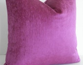 FUSCHIA CHENILLE- Both Sides -Decorative Designer pillow Cover- Both Sides- Fuschia Throw / Lumbar Pillow Cover