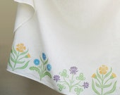 Cottage Garden Cafe Curtain hand printed in spring pastels 57 x 27 inch home decor one panel