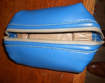 Mens vintage Royal Blue cosmetic toiletries case