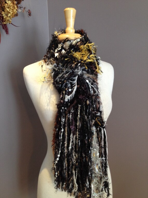 SALE Fringed knit Fashion Scarf - 'Turtle' Dumpster Diva Drop-Knit Fringed Scarf in cream, brown, gold, black for women, fashion, boho chic