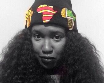 African print beanie hat