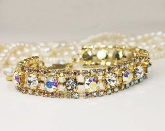Crystal AB Bracelet Bridal Clear Swarovski Bridal Jewelry Aurora Borealis Tennis Wedding Bracelet Sparkly Bracelet 7mm Gold finish,GB52