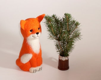 """Little Red Fox, 6 """",  Needle Felted  Miniature, red, white, green, Christmas gift. MADE to ORDER"""