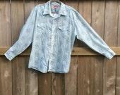 Vintage Men''s pearl snap long sleeved LIGHT BLUE western SIZE 17.5 - 35