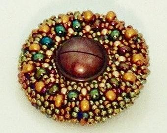 Brooch Art Deco Inspired, Handbeaded Brooch