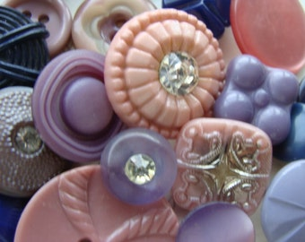 24 Antique Buttons Rhinestone Glass Mixed Buttons N0 690 24pcs Lilac Mauve Navy Wedding Collection