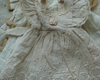 Stunning  Antique Needle Work Handmade Lace Ribbon Rose Pale Blush Color Pinafore
