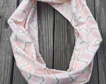 Pink white gold metallic chevron infinity scarf