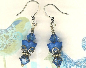 Lucite Flower Earrings, Crystal Swarvoski Earrings, Royal Blue Earring, Victorian, Art Nouveau, Brass Vintage Earrings, My Julie Jewels