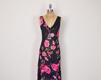 Vintage 90s Black & Pink Floral Dress Floral Print Dress Sheer Dress Bead Dress Drape Cowl Neck Midi Dress 90s Dress Grunge Gypsy S Small