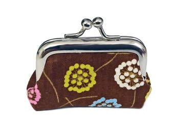 Colorful Dandelions on Brown  - Tiny Kisslock Metal Frame Coin Purse