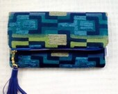 Fold over Clutch, Mod Clutch, Blue Clutch Bag with Leather Tassel