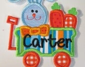 Easter Bunny Wagon - Iron On or Sew On Embroidered Applique