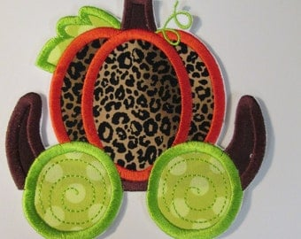 Holiday Pumpkin Carriage - Iron On or Sew On Embroidered Applique