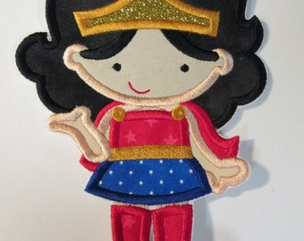 Wonder Girl - Super Hero Iron On or Sew On Embroidered Applique