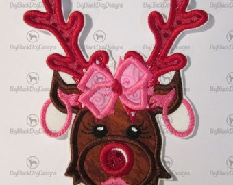 Diva Reindeer - Iron On or Sew On Embroidered Applique