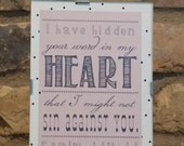 Framed art print - Psalm 119:11 - I have hidden your word in my heart that I might not sin against you.- custom color, size, frame available