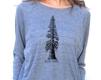 Womens Long Sleeve Sweatshirt - Redwood Tree Design - American Apparel Raglan Pullover - Small, Medium, Large