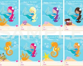 Printable Mermaid & Seahorses Valentine's Cards
