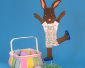 Articulated Brown Bunny Stick Puppet.  3D Posable Easter Bunny Greeting Card