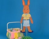 Articulated Bunny Stick Puppet and Easter Card Greeting Card