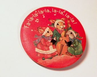 Hallmark Cards Christmas Pin Caroling Mouse Bunny Squirrell Fabric Covered button red lapel pin
