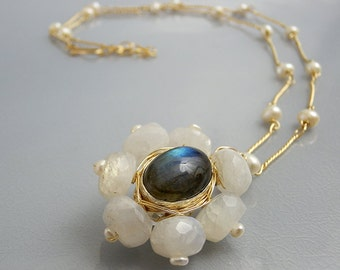 Unique Labradorite Necklace, Moonstone and Pearls Love Flower Necklace, Statement Necklace, Floral Jewelry, June Birthstone, Bridal Necklace